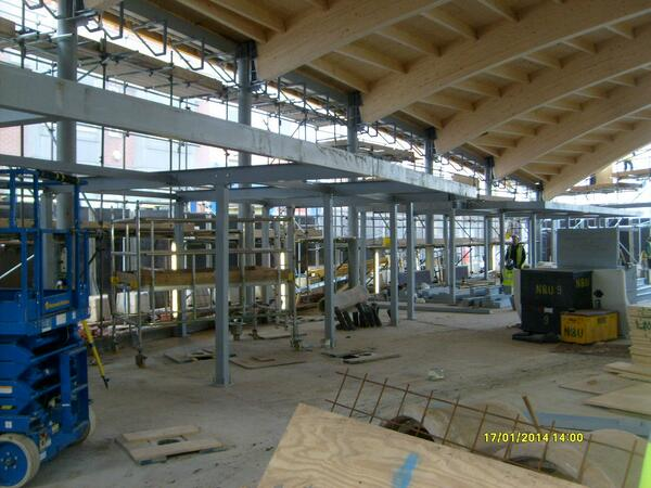 Steel columns go up at Leicester Market