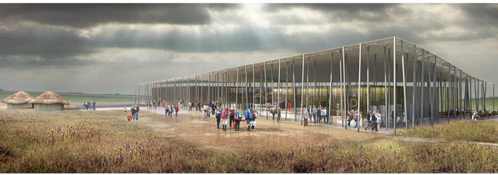 Steel columns link old with new at Stonehenge Visitor Centre