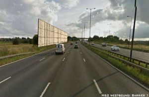 Steel piles support experimental 'environmental barriers' on M62